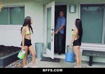Duas belas mulheres transando com o primo rico